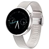 Lemfo Dm360 Bluetooth Smart Watch Smartwatch Heart Rate Monitor Pedometer Phone Mate Gesture Control for Android Ios (Silver Metal)