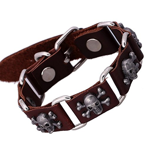 Nice Buckeye Punck Style Studded Skull Splicing Vintage Durable Leather Wrap Bracelet
