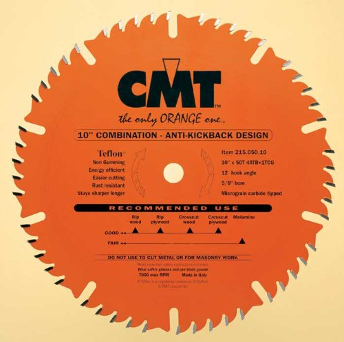 CMT 215.050.10 Industrial Combination Saw Blade, 10-Inch, Diameter, 50 Teeth, 5/8-Inch, Bore, 0.126 Kerf, 0.087 Plate, 4ATB+1TCG Teeth, 12-Degree Hook Angle