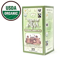 PRIDE OF INDIA Organic Herbal Mint Tea (Decaf), 25 Tea Bags (Summer Special :1 Box Free With Every 2 Boxes & Free Shipping)