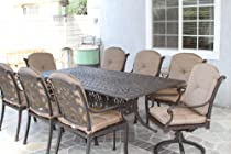 "Hot Sale Heritage Outdoor Living Flamingo Cast Aluminum 9pc Outdoor Patio Set with 44""x84"" Rectangle Table - Antique Bronze"