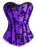 Dissa Gothic Lace Sweetheart Corset With G-String,Purple,S