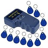 KKmoon Handheld 125KHz RFID ID Card Writer/Copier Duplicator + 10pcs Writable EM4305 Key Cards (Tamaño: New Mode)