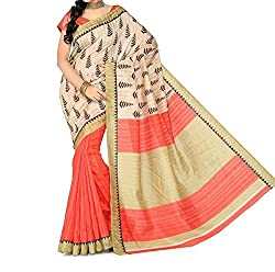 RGR Enterprice Woman's Bhagalpuri Designer Saree (christmas print_Multi-Coloured_Free Size)