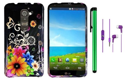 Lg G2 Model Vs980 (Verizon Only) Premium Pretty Design Protector Hard Cover Case + 3.5Mm Stereo Earphones + 1 Of New Metal Stylus Touch Screen Pen (Yellow Pink Chromatic Flower Black Silver Butterfly)