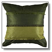 Rizzy Home 18-Inch by 18-Inch Decorative Pillows, Green/Lime Green, Set of 2