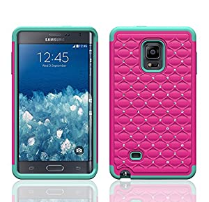 Galaxy Wireless Hybrid Damond Case for Samsung Galaxy Note Edge (At&t, Verizon, T-Mobile & Sprint) (HOT PINK ON TEAL DIAMOND HYBRID)