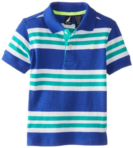 Nautica Baby-Boys Infant Multi Color Stripe Polo, Royal, 12 Months front-1016747