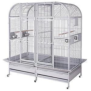 Papageienvoliere XXL Palace in hellgrau, die Voliere XXL, der Käfig XXL mit Trennwnand und Anflugklappen  Kundenbewertung und weitere Informationen