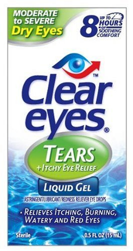 Clear Eyes Tears + Itchy Eye Relief Eye Drops, For Moderate to Severe Dry Eyes, 0.5-Ounce Bottles (Pack of 4)