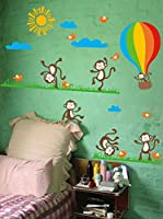 Ambiance-sticker Vinilo Decorativo Monkeys, birds and Hot-air balloon
