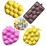 Fruits Series Silicone Fondant Mold Candy Mold Strawberries Pineapples Apples Banana Mold for Sugarcraft Cake Decoration Candy Mold Cupcake Topper Summer Ice Cube Tray (Set of 4) (Color: Banana)