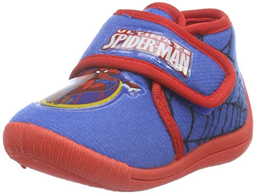 SpidermanBoys Kids Velcro high Houseshoes - Ciabatte non imbottite Bambino , Blu (Blau (Cblu/Red 385)), 25