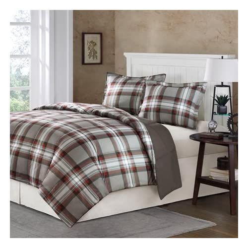 Fresh Comfort Classics Kirkland Plaid Down Alternative Mini Comforter Set King Dark Grey