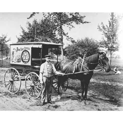 Quality Digital Print Of A Vintage Photograph - Tea And Coffee Cart. Black & White 8X10 Inches - Matte Finish