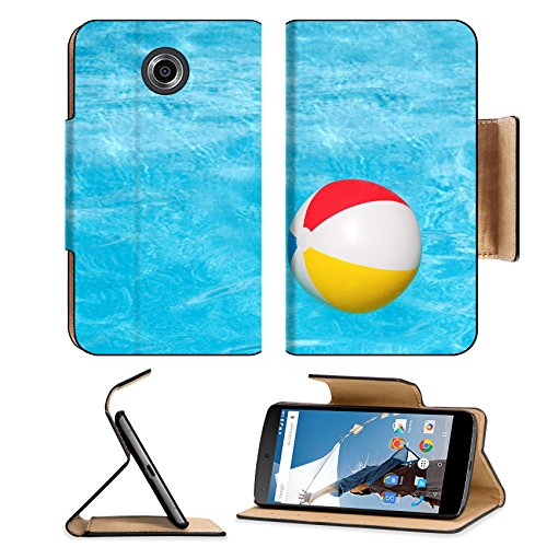 Flip Pu Leather Wallet Case Motorola Google Nexus 6 MSD Premium Inflatable colorful ball floating in the swimming pool IMAGE 30213623