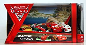 Disney / Pixar CARS 2 Movie Exclusive Die Cast Car Racing 4Pack Lightning McQueen, Francesco Bernoulli, Shu Todoroki Miguel Camino