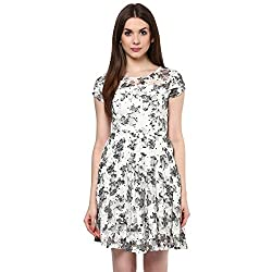 Honey by Pantaloons Womens Polyester Printed Dress Off White_2XL