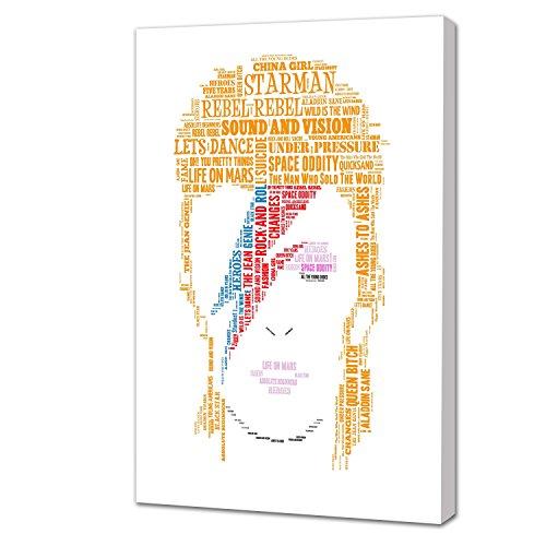 Beautiful & unico x 30,48 (16 40,64 cm x 12 colori arte di musica Icon David Bowie, realizzata dal famoso testi di canzoni, stampa su un telaio in alluminio Probar