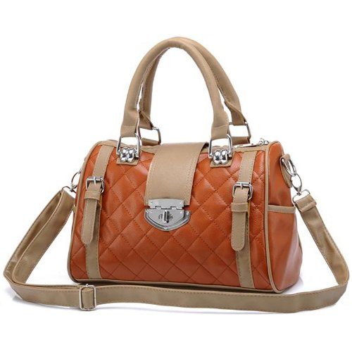 KARASI Dual-tone Brown Diamond Quilted Turn-lock Bowling Style Handbag Satchel Purse Shoulder Bag