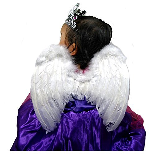 SACAS Small White Feather Angel Fairy Wings for kids, girls, or boys with Free Halo