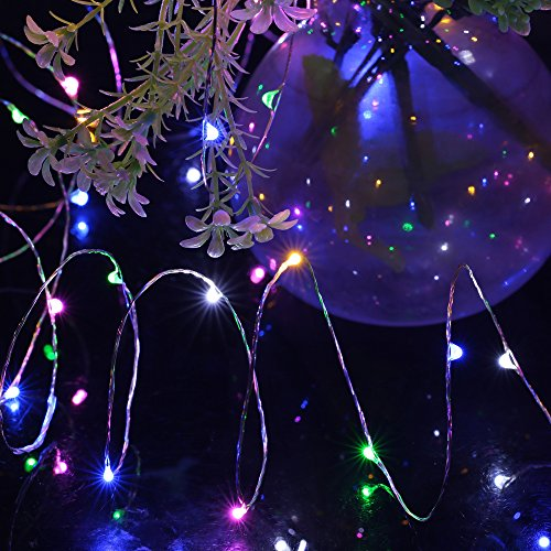 Pandawill Super Bright Silver Wire String Lights, 33ft 100 Leds Fairy Starry String Lights for ...