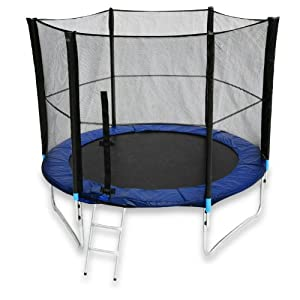 We R Sports Trampoline with Safety Enclosure Net Ladder and Rain Cover - Black, 10 Ft