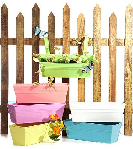 Pflanzkasten 28 cm Pastell Spring Farben Blumenkasten zum Hängen aus Metall (Blau)