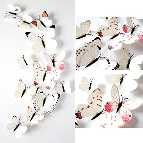 Hatop 12pcs 3D Butterfly Sticker Art Design Decal Wall Mural Stickers Door Decals Home Decor Room Decorations (White )