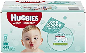 Huggies One & Done Refreshing Baby Wipes Refill, Cucumber and Green Tea, 648 Count (Packaging may vary)