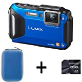 Panasonic Lumix DMC-FT5 Compact Camera - Blue + Case and 8GB Memory Card (16.1MP, 4.6x Optical) 3.0 inch LCD