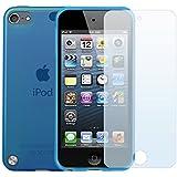 Coque Ultra Fine en Gel Flex TPU pour Apple iPod Touch 5 - Collection Transparent - Bleu + 3 Films Protecteurs d'écran - par PrimaCase