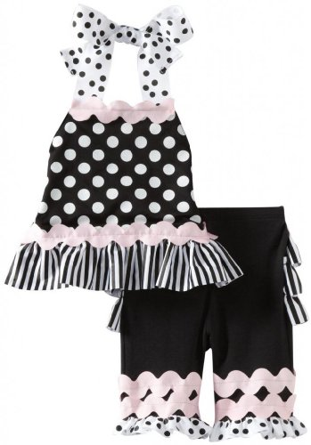 Mud Pie Baby-Girls Newborn Perfectly Princess Capri Play Set, Black/White, 9-12 Months front-561064