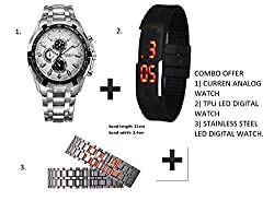 Fengfanglin Combo of Black Rubber Silicone Magnet Red Led Digital TPU Unisex Band + Curren Mens Analog Watch + Silver Belt Stainless Steel Bracelet LED Digital Watch
