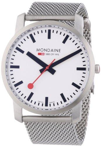 Mondaine Simply A638.30350.16SBM - Reloj analógico de cuarzo para hombre, correa de acero inoxidable color plateado