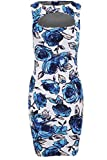 Ladies Celeb Inspired Amy Childs Cut Out Floral Stretch Bodycon Women's Dress 8-14 [Blue Floral 14]