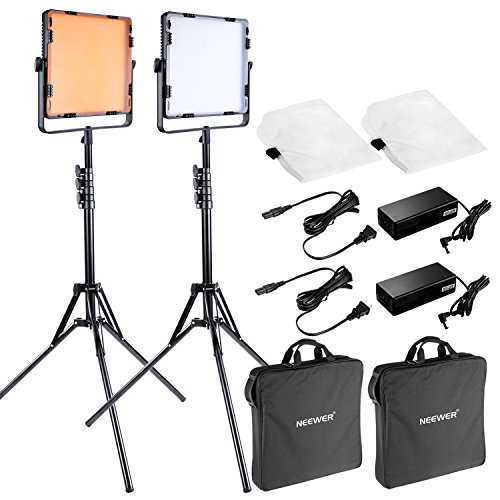 Neewer 650 LED Continuous Video Light Lighting Kit for Photo Video Studio Shooting, Includes: (2)LED Light Dimmable, (2)79 inches /200 centimeters Light Stand, (2)Diffuser, (4)Filter, (2)Carrying Bag (Professional Led Video Light compare prices)