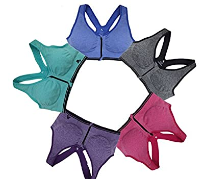 B.BANG Women Sports Bra Padded Zipped Seamless
