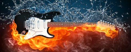 Acrylglasbild-XXL-Feuer-Wasser-Gitarre-80-x-200-cm-in-Premium-Qualitt-Brillante-Farben-freischwebende-Optik