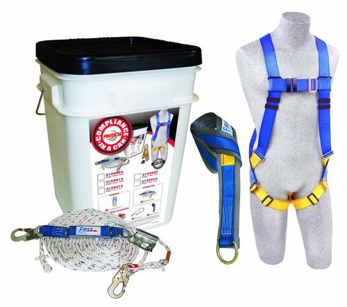 Capital Safety 2199815 Universal Roofers Kit with 5-Point Harness, 50-Feet Dropline Rope, Permanently Attached 2-Feet Shock Absorbing Lanyard and 6-Feet Tie Off Adaptor in a Bucket, 1-Pack