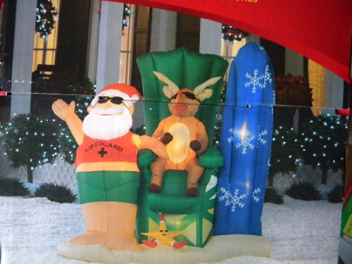 Gemmy Santa on Vacation Christmas Airblown Inflatable