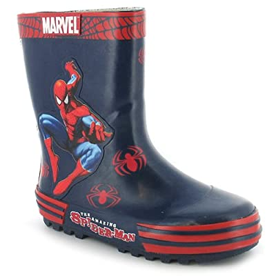 Boys Blue Spiderman Rubber Wellington Boots - Blue - UK 9-9