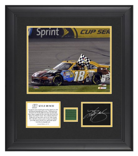 Signed Kyle Busch Photo - FRAMED 2012 RICHMOND 8x10 CARD FLAG - Mounted Memories Certified - Autographed NASCAR Photos