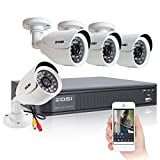 ZOSI 4CH CCTV Security System,Full 960H DVR and 4 PCS 800TVL Outdoor Surveillance Cameras