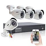 ZOSI 4CH CCTV Security System,Full 960H DVR and 4 PCS 800TVL Outdoor Surveillance Cameras