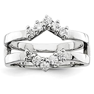 IceCarats Designer Jewelry Size 6 14K White Gold Aa Diamond Guard
