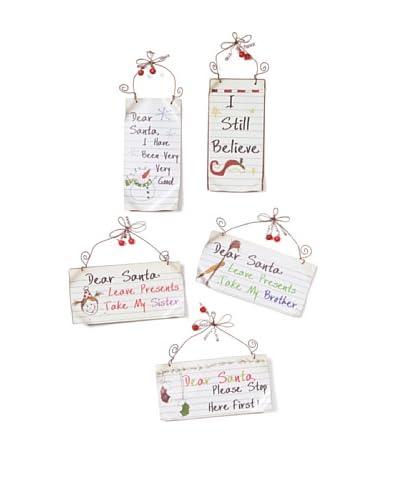 Melrose International Set of 5 Dear Santa Metal Sign Ornaments