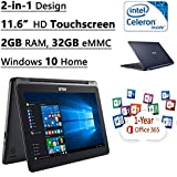 "ASUS 11.6"" HD 1366 X 768 Signature Edition 2 In 1 Touchscreen Laptop, Intel Celeron N3050, 2GB DDR3L, 32GB EMMC..."