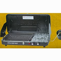 Propane Powered Portable Camp Stove and Grill Camping Grill Outdoor Cooking...