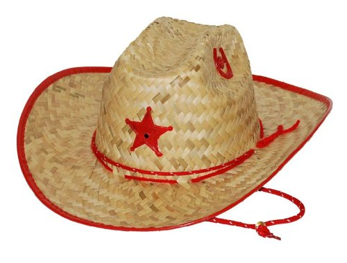 KIDS Red PALM STRAW Hat Size Medium